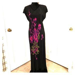 Carole Little Dress Black & Fuchsia